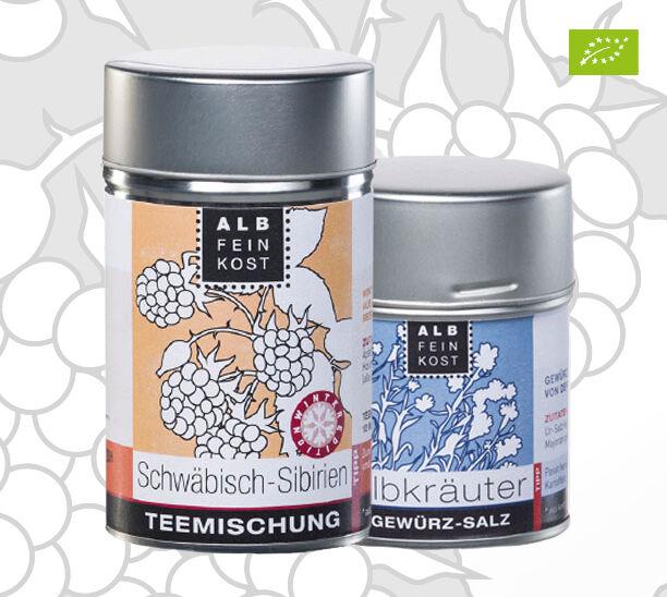 """Teemischung """"Schwäbisch Sibirien"""" und Gewürz-Salz """"Albkräuter"""""""